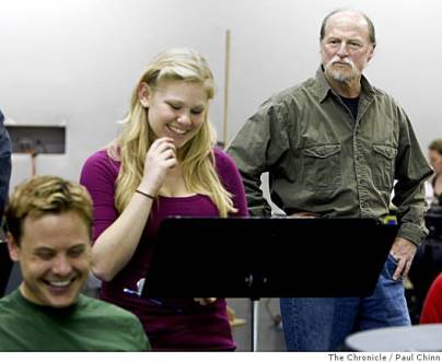 In rehearsal for Stephen Schwartz's Snapshots with TheatreWorks artistic director Robert Kelly and fellow cast member Michael Marcotte