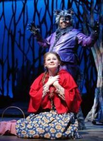 As Little Red in Into the Woods with James Monroe Igleheart as the Wolf